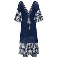 ANNA KOSTUROVA abito lungo indigo in cotone crochet