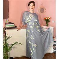 ASOS Curve asos design curve - vestito lungo con fiori ricamati-grigio