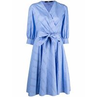 Karl Lagerfeld abito svasato con stampa - blu