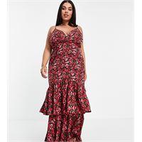 In The Style Plus x jac jossa - vestito midi con fondo peplo con volant rosso a fiori