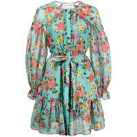 Saloni abito corto a fiori pixie - blu