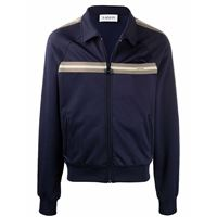 LANVIN giacca con dettaglio a righe e zip - blu
