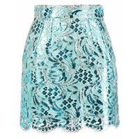 Dolce & Gabbana minigonna con ricamo - blu