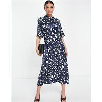 Selected femme - vestito midi con stampa monocromatica blu-multicolore