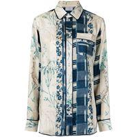 Pierre-Louis Mascia camicia con design patchwork - blu