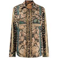 Pierre-Louis Mascia giacca-camicia con stampa patchwork - multicolore