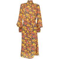 Rebecca Vallance abito midi a fiori arles - arancione