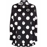 Dolce & Gabbana polka-dot long-sleeve blouse - nero