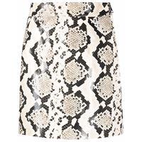 Alessandra Rich snakeskin-effect leather mini skirt - grigio